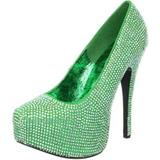Green Rhinestone 14,5 cm Burlesque TEEZE-06R Platform Pumps Women Shoes