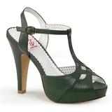 Grøn 11,5 cm retro vintage BETTIE-23 Høje Fest Sandaler med Hæl