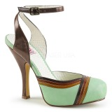 Grøn 11,5 cm retro vintage CUTIEPIE-01 Pinup sandaler med skjult plateau