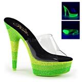 Grøn 15 cm DELIGHT-601UVS neon plateau mules damer med hæl