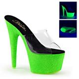 Grøn 18 cm ADORE-701UVG neon plateau mules damer med hæl