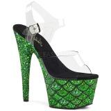 Grøn 18 cm ADORE-708MSLG glitter plateau sandaler sko