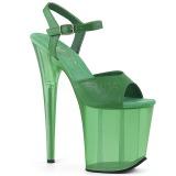 Grøn 18 cm FLAMINGO-809T Akryl plateau high heels sko