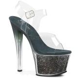 Grøn 18 cm SKY-308G-T glitter plateau sandaler sko