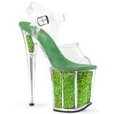 Grøn 20 cm FLAMINGO-808GF glitter plateau high heels sko