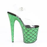Grøn 20 cm FLAMINGO-808MSLG glitter plateau sandaler sko