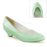 Grøn 4 cm LULU-05 Pinup pumps sko med lave hæle