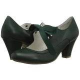 Grøn 6,5 cm WIGGLE-32 retro vintage maryjane pumps med blokhæl