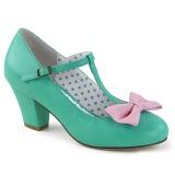Grøn 6,5 cm WIGGLE-50 Pinup pumps sko med blokhæl