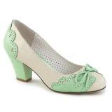 Grøn 6,5 cm retro vintage WIGGLE-17 Pinup pumps sko med blokhæl