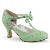 Grøn 7,5 cm FLAPPER-11 Pinup pumps sko med lave hæle