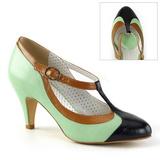 Grøn 8 cm PEACH-03 Pinup pumps sko med lave hæle
