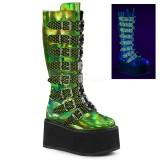 Grøn 9 cm DAMNED-318 plateau damestøvler med spænder