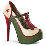 Grøn Beige 14,5 cm Burlesque TEEZE-43 damesko med høj hæl