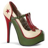 Grøn Beige 14,5 cm TEEZE-43 damesko med høj hæl
