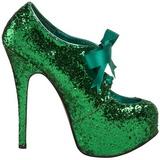 Grøn Glitter 14,5 cm Burlesque TEEZE-10G Platform Pumps Sko