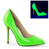 Grøn Neon 13 cm AMUSE-20 spidse pumps med stiletter hæle