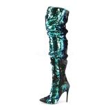 Grøn Pailletter 13 cm COURTLY-3011 Pleaser Overknee Støvler