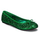 Grøn STAR-16G glitter ballerina sko med flade hæle