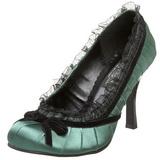 Grøn Satin 9 cm DAINTY-420 klassisk pumps sko til damer