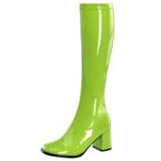Grønne laklæder støvler blokhæl 7,5 cm - 70 erne hippie disco boots knæhøje - patent læder støvler