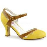 Gul 7,5 cm FLAPPER-27 Pinup pumps sko med lave hæle