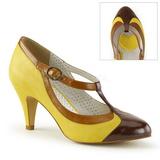 Gul 8 cm PEACH-03 Pinup pumps sko med lave hæle