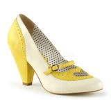 Gul 9,5 cm POPPY-18 Pinup pumps sko med lave hæle