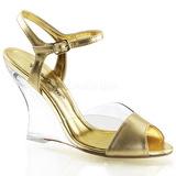 Guld 10,5 cm LOVELY-442 Wedge Sandaler med Kilehæle