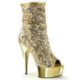 Guld 15 cm DELIGHT-1008SQ ankelstøvler til damer med pailletter