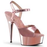 Guld 15 cm DELIGHT-609 pleaser høje hæle med plateau