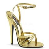 Guld 15 cm DOMINA-108 fetish sandaler med stilethæl