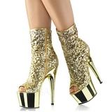 Guld 18 cm ADORE-1008SQ ankelstøvler til damer med pailletter