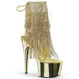 Guld 18 cm ADORE-1017RSF ankelstøvler til damer med frynser
