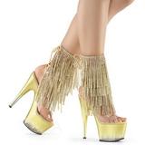 Guld 18 cm ADORE-1017RSFT ankelstøvler til damer med frynser