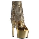Guld 18 cm ADORE-1024RSF ankelstøvler til damer med frynser