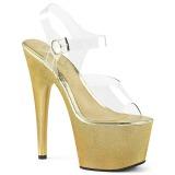 Guld 18 cm ADORE-708HG Hologram plateau high heels sko