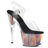 Guld 18 cm ADORE-708HGI Hologram plateau high heels sko