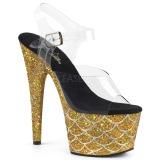 Guld 18 cm ADORE-708MSLG glitter plateau sandaler sko
