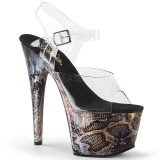 Guld 18 cm ADORE-708SP Hologram plateau high heels sko