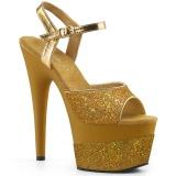 Guld 18 cm ADORE-709-2G glitter plateau sandaler sko