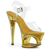 Guld 18 cm MOON-708GFT glitter plateau sandaler sko