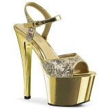 Guld 18 cm Pleaser SKY-310SQ Pailletter plateau high heels sko