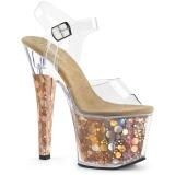 Guld 18 cm RADIANT-708BHG Hologram plateau high heels sko