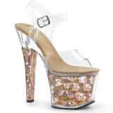 Guld 18 cm RADIANT-708HHG Hologram plateau high heels sko