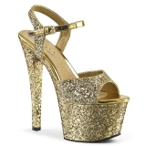 Guld 18 cm SKY-310LG glitter plateau high heels sko