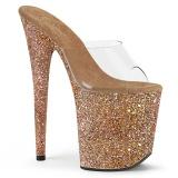 Guld 20 cm FLAMINGO-801LG glitter plateau mules damer med hæl