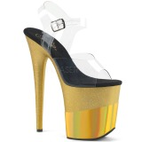 Guld 20 cm FLAMINGO-808-2HGM glitter plateau sandaler sko