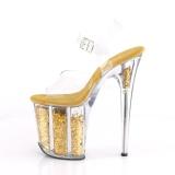 Guld 20 cm FLAMINGO-808GF glitter plateau high heels sko