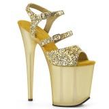 Guld 20 cm FLAMINGO-874 glitter plateau sandaler sko